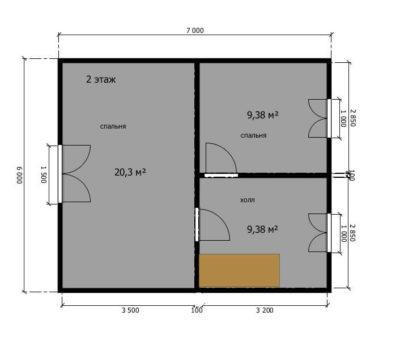 Планировка дома Слобода-1 2 этаж