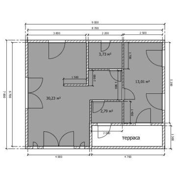 Планировка по проекту дома Порту-63