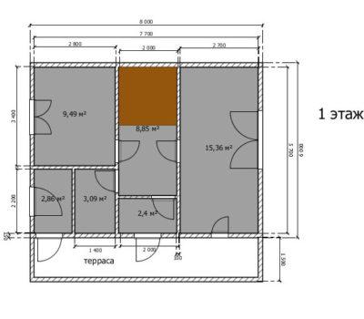 Планировка дома Венеция-108 1 этаж