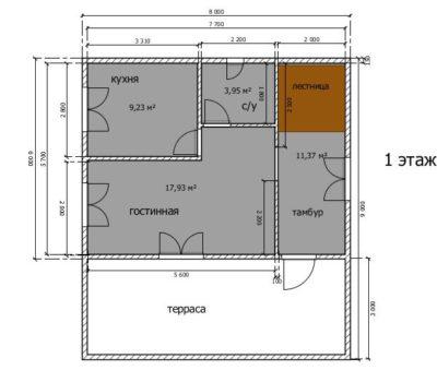 Планировка дома по проекту Атлант-120 1 этаж