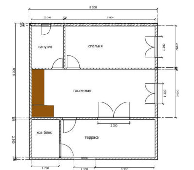 Планировка дома по проекту Сельта-136 1 этаж