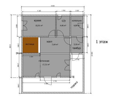 Планировка дома по проекту Андорра-160 1 этаж