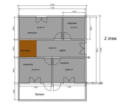 Планировка дома по проекту Андорра-160 2 этаж