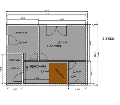 Планировка по проекту дома Луч-96 1 этаж
