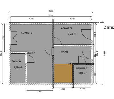 Планировка по проекту дома Луч-96 2 этаж